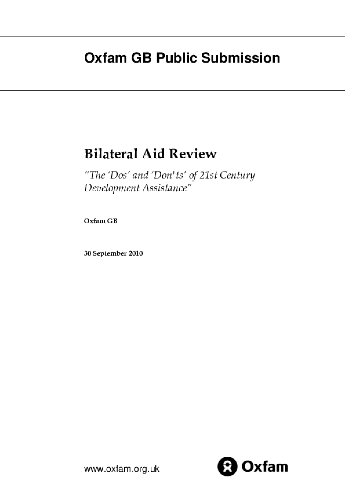 Bilateral Aid Review: The 'Do's' and 'Don'ts' of 21st Century Development Assistance