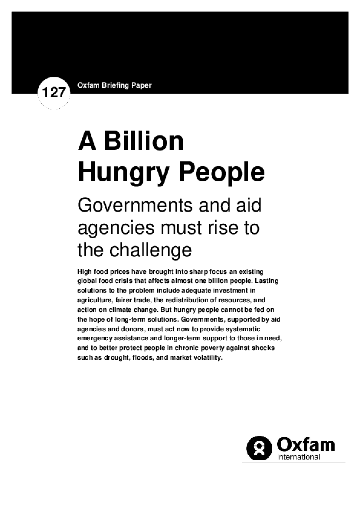 A Billion Hungry People: Governments and aid agencies must rise to the challenge