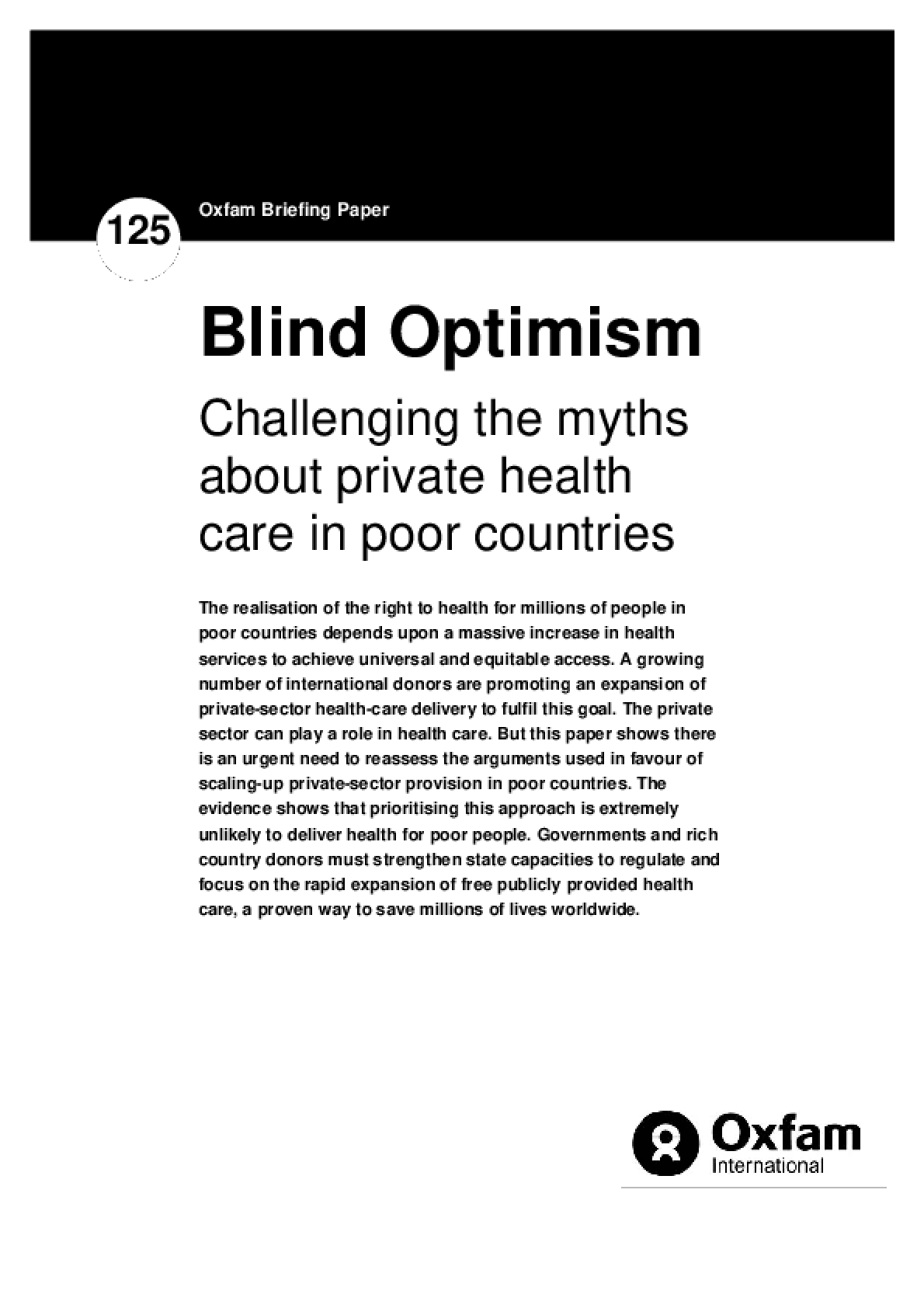 Blind Optimism: Challenging the myths about private health care in poor countries
