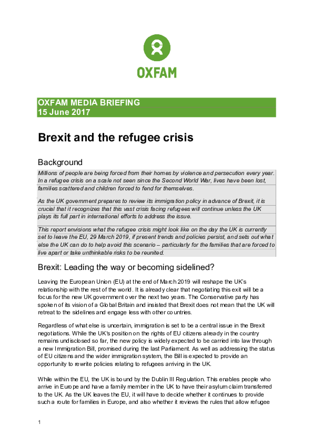 Brexit and the Refugee Crisis