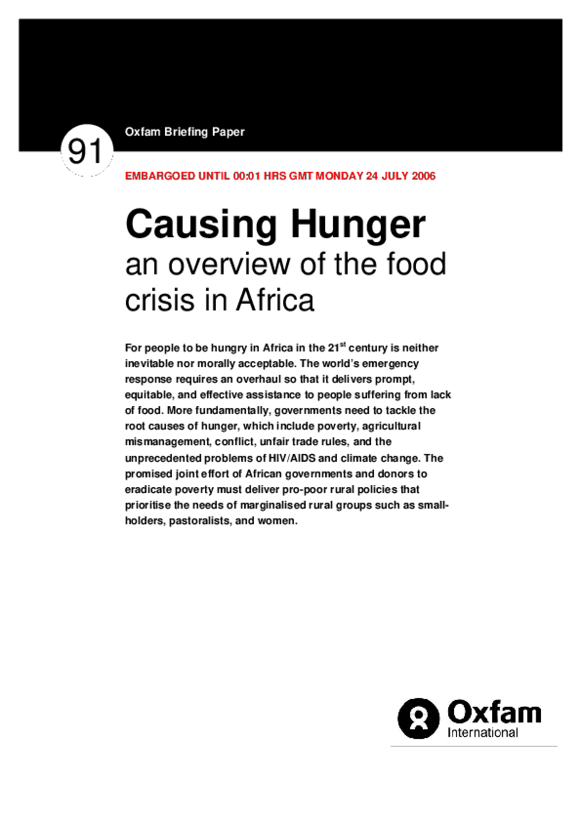 Causing Hunger: An overview of the food crisis in Africa