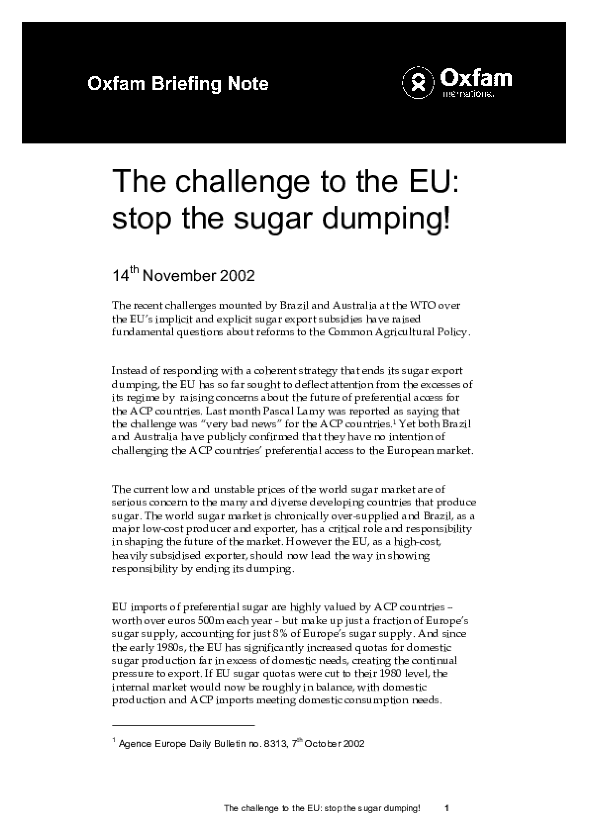 The Challenge to the EU: Stop the Sugar Dumping!