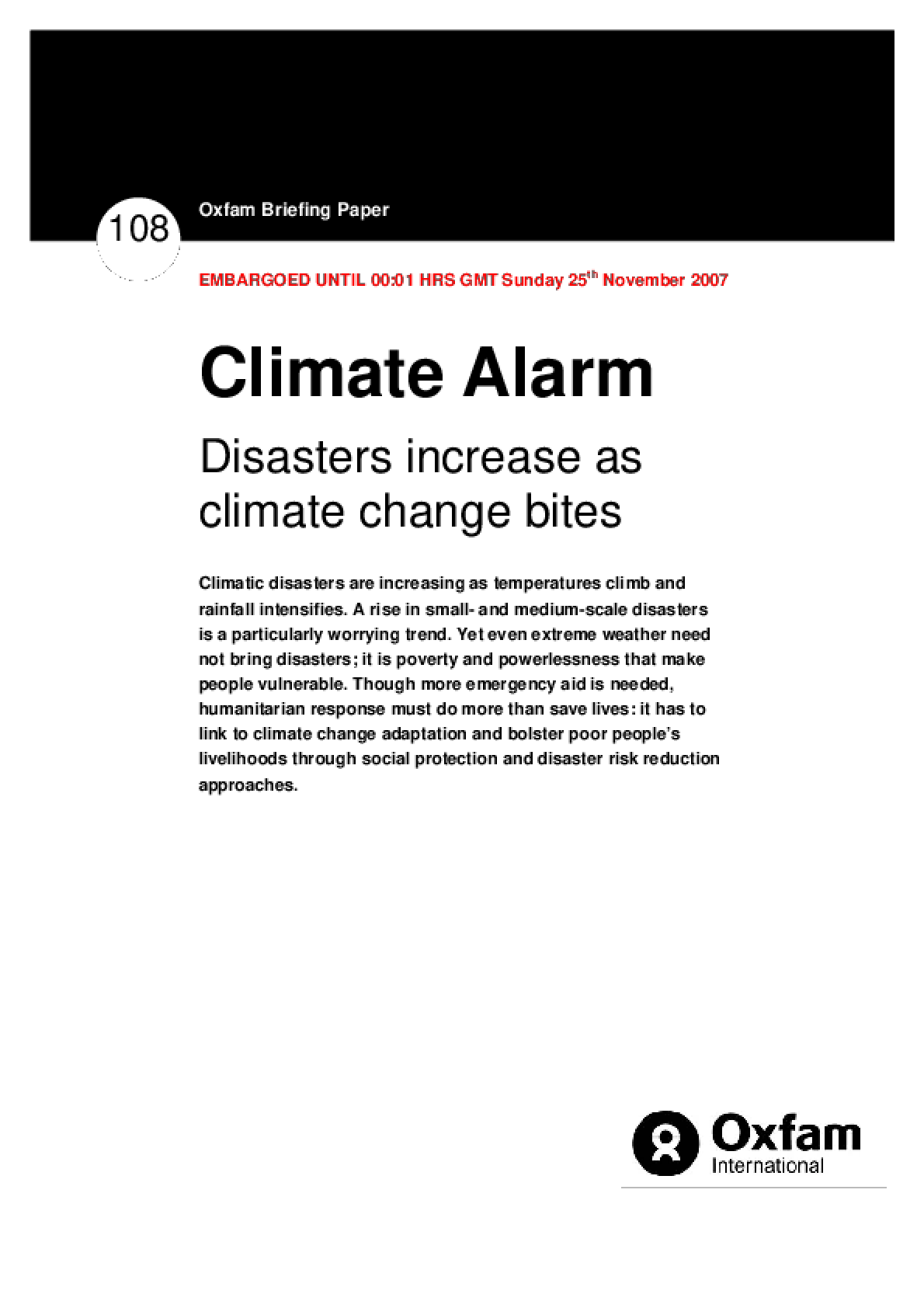 Climate Alarm: Disasters increase as climate change bites