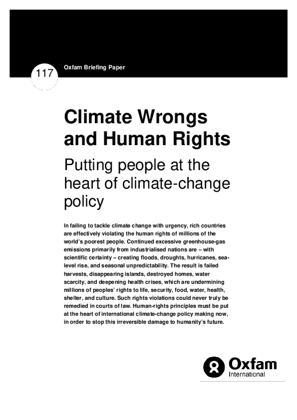 Climate Wrongs and Human Rights: Putting people at the heart of climate change policy