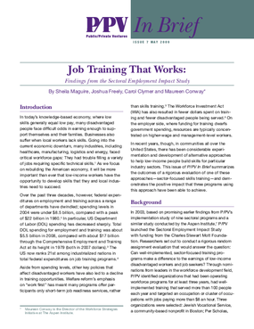 Job Training That Works: Findings from the Sectoral Employment Impact Study