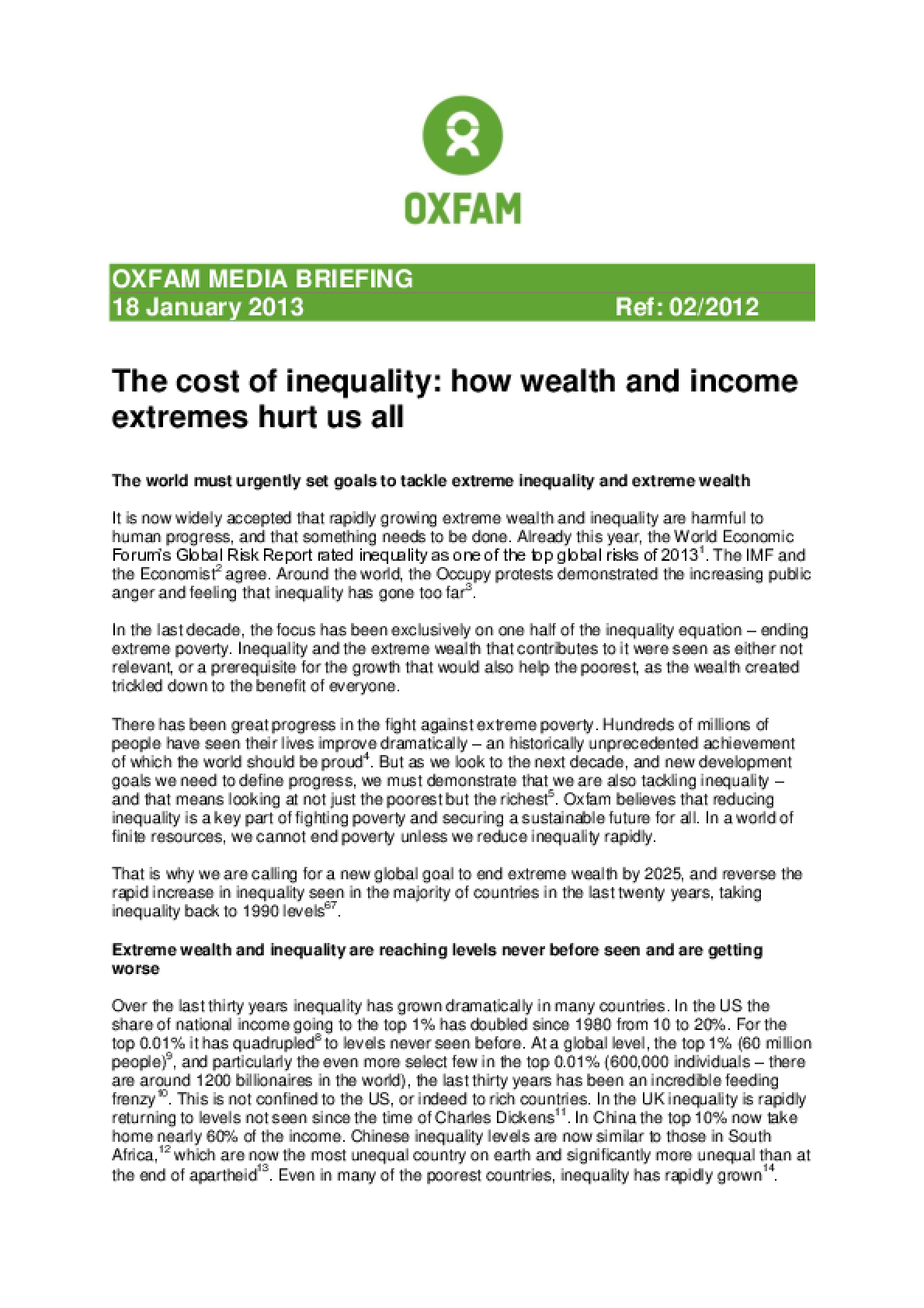 The Cost of Inequality: How wealth and income extremes hurt us all