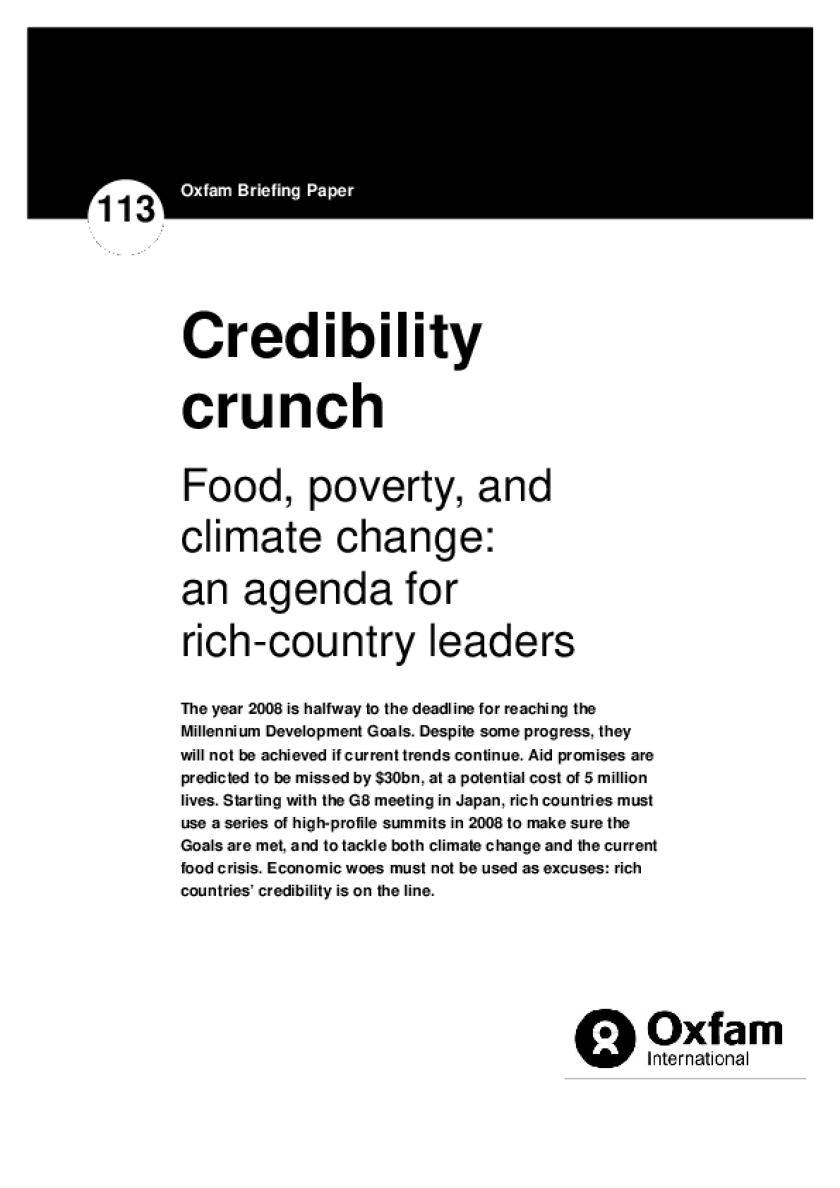 Credibility Crunch: Food, poverty, and climate change: an agenda for rich country leaders