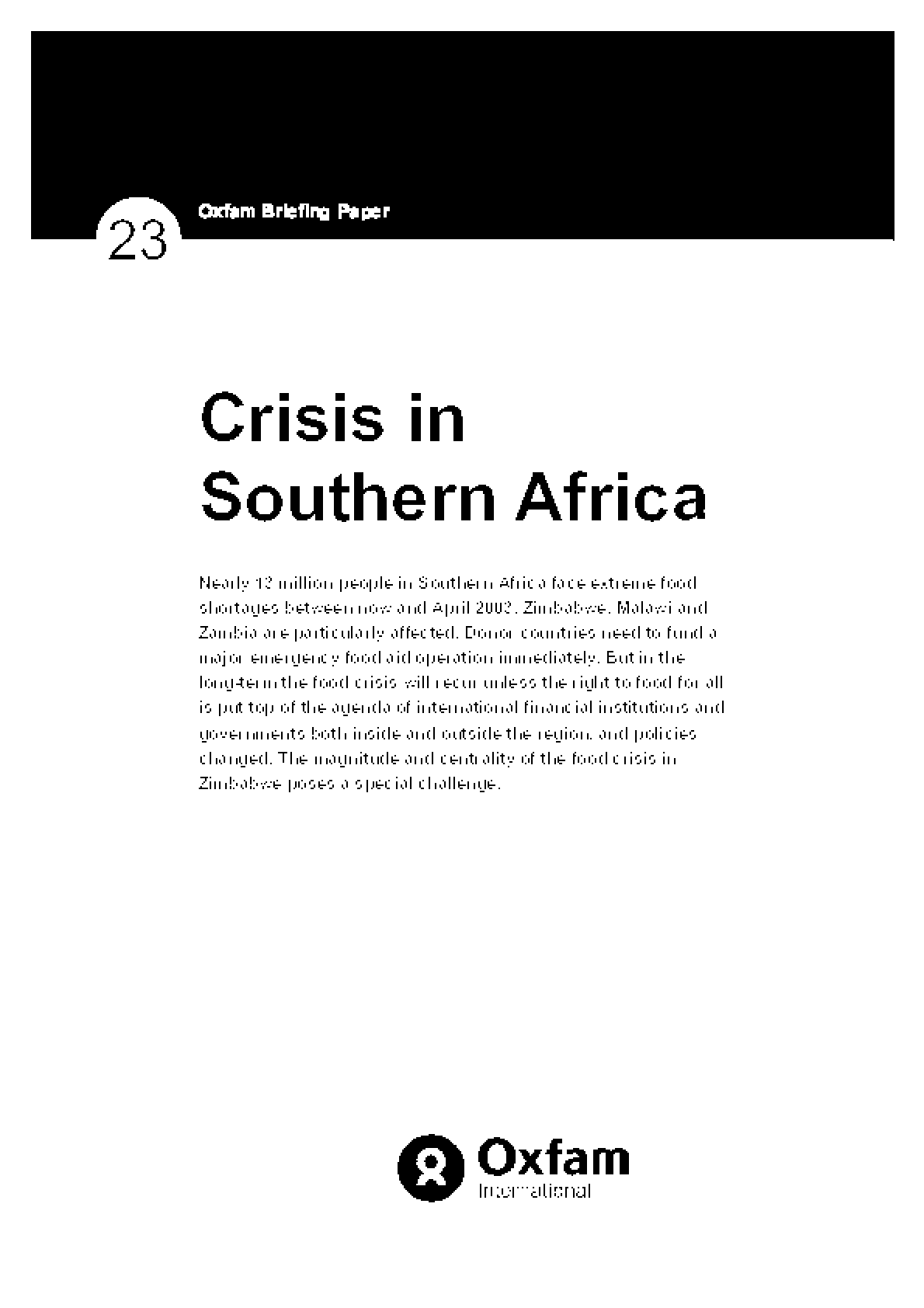Crisis in Southern Africa