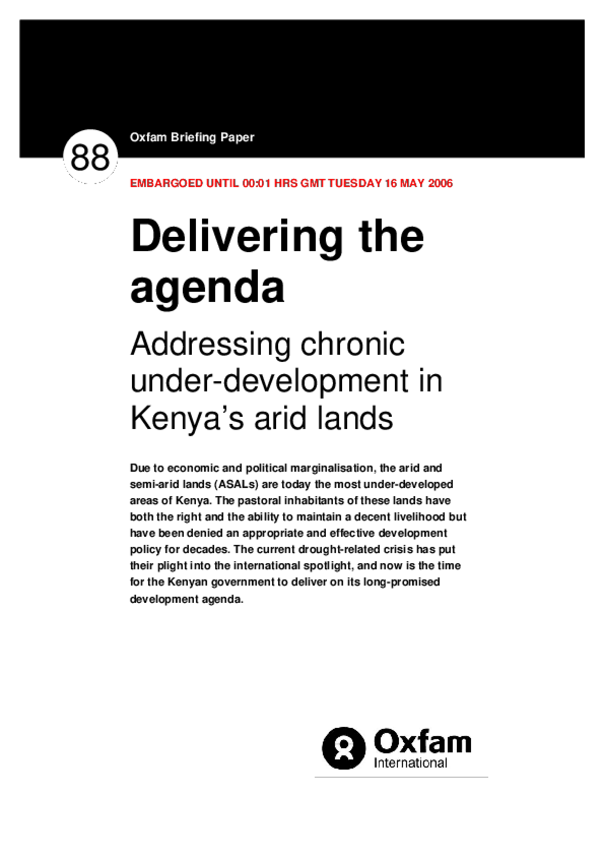 Delivering the Agenda: Addressing chronic underdevelopment in Kenya's arid lands
