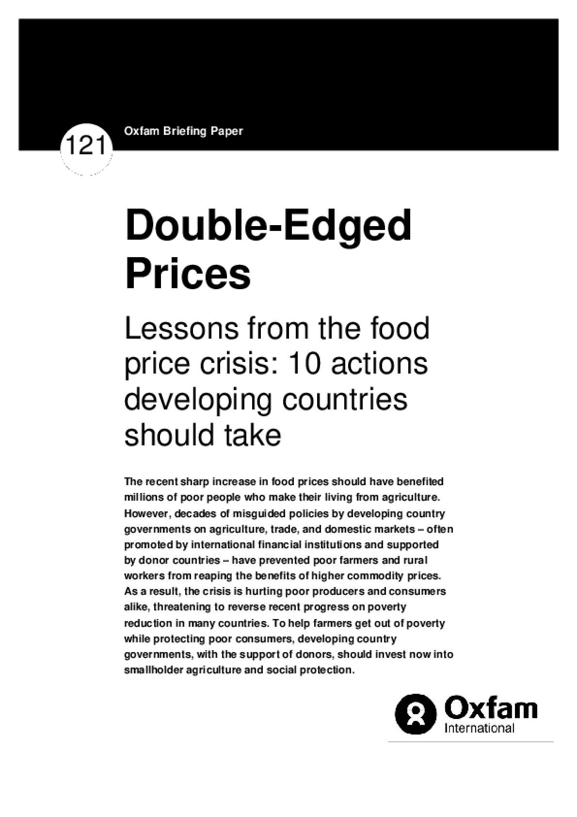 Double-Edged Prices: Lessons from the food price crisis: 10 actions developing countries should take
