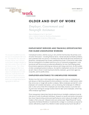 Older and Out of Work: Employer, Government and Nonprofit Assistance