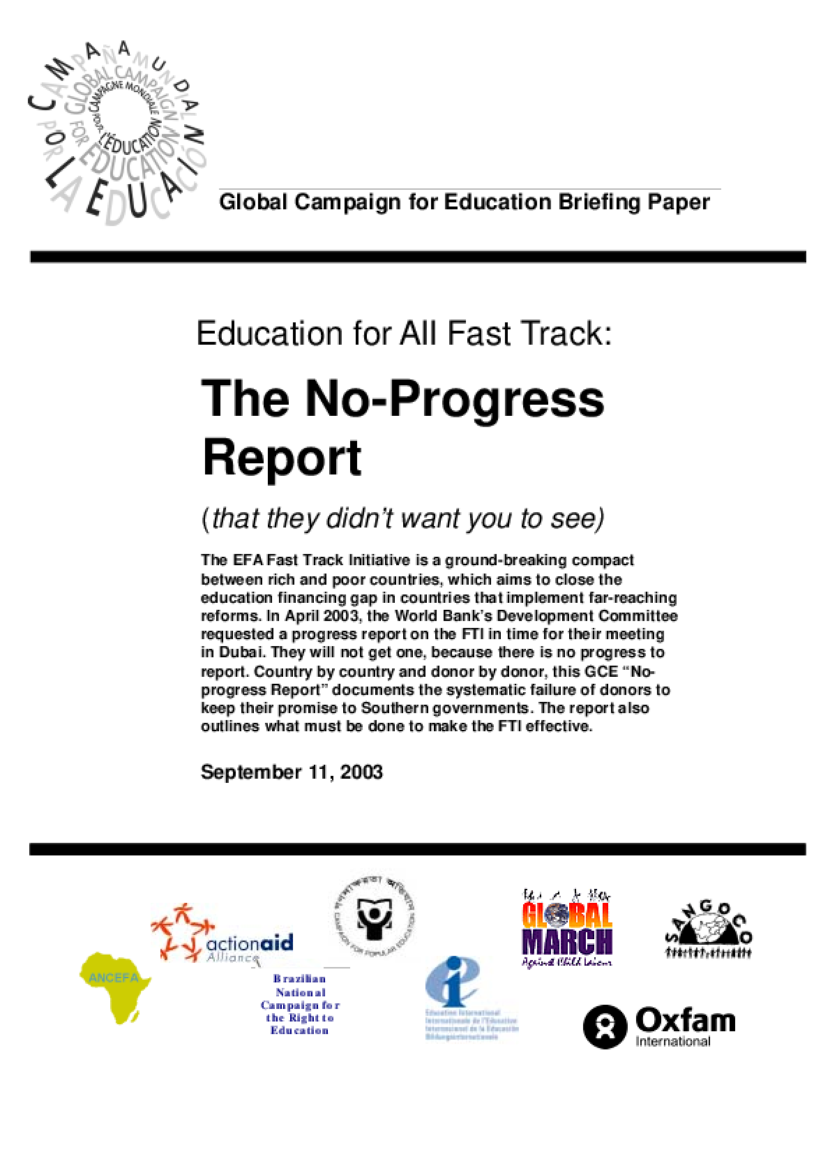 Education for All Fast Track: The No-Progress Report