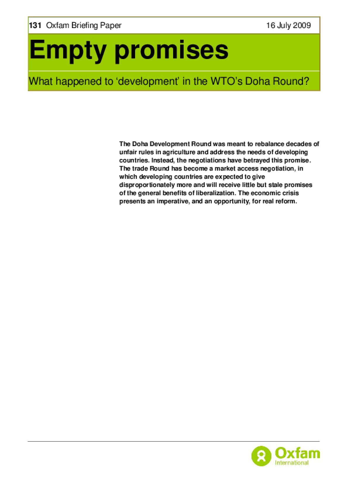 Empty Promises: What happened to 'development' in the WTO's Doha Round?