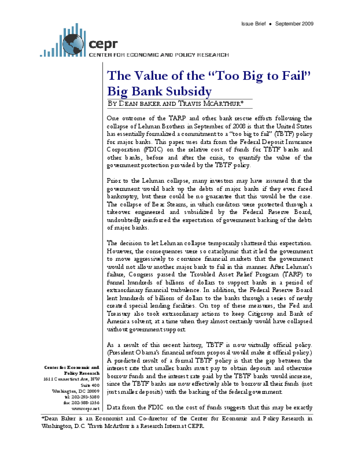 "The Value of the ""Too Big to Fail"" Big Bank Subsidy"