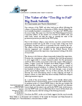 """The Value of the """"Too Big to Fail"""" Big Bank Subsidy"""