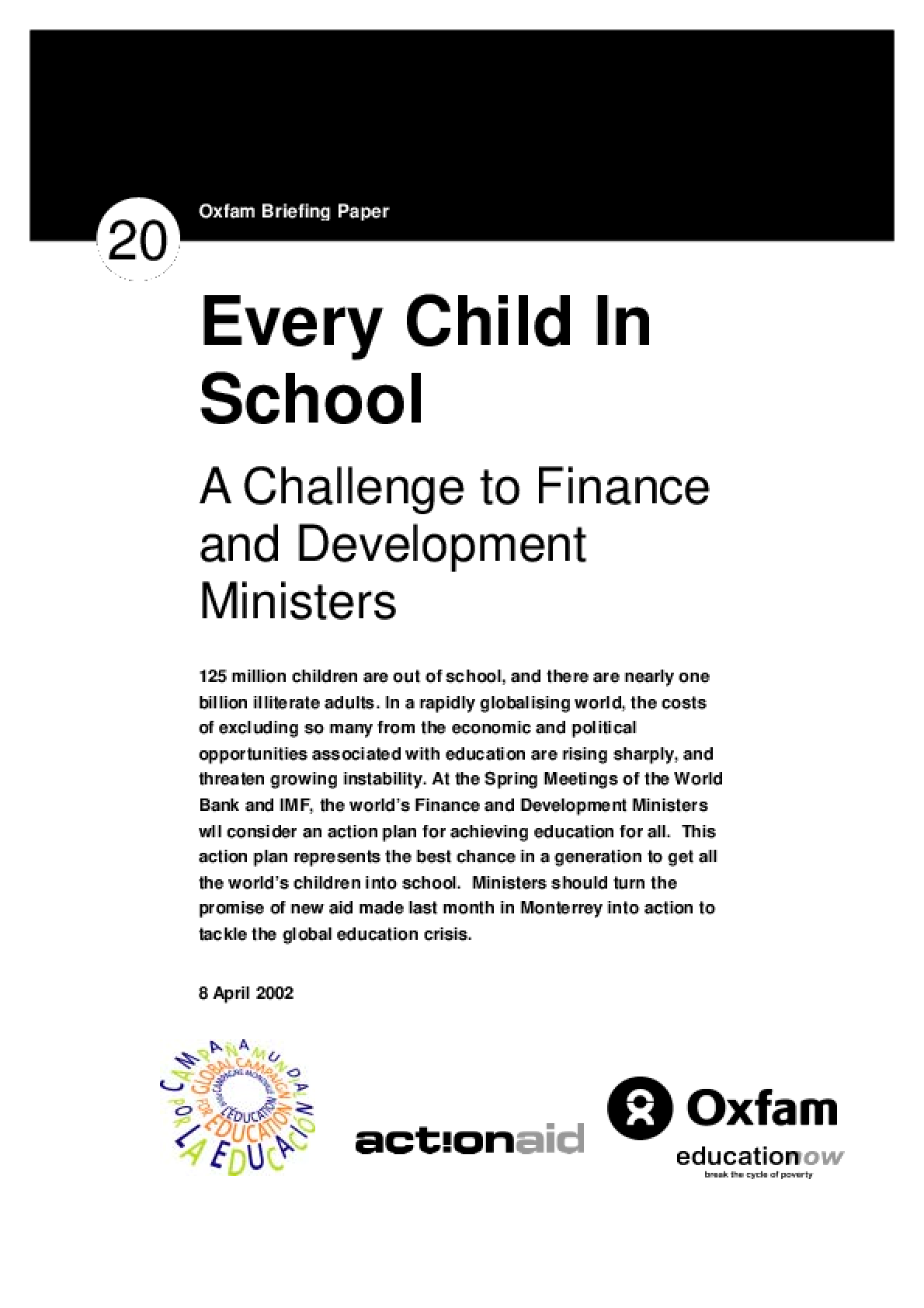 Every Child in School: A challenge to finance and development ministers