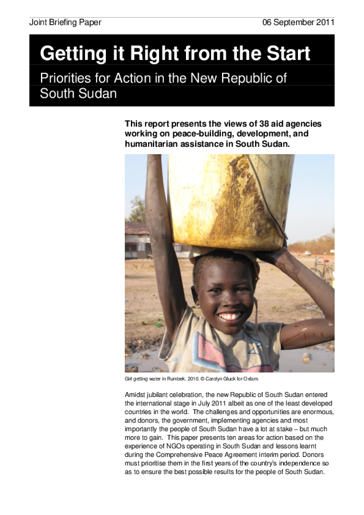 Getting it Right from the Start: Priorities for action in the new Republic of South Sudan