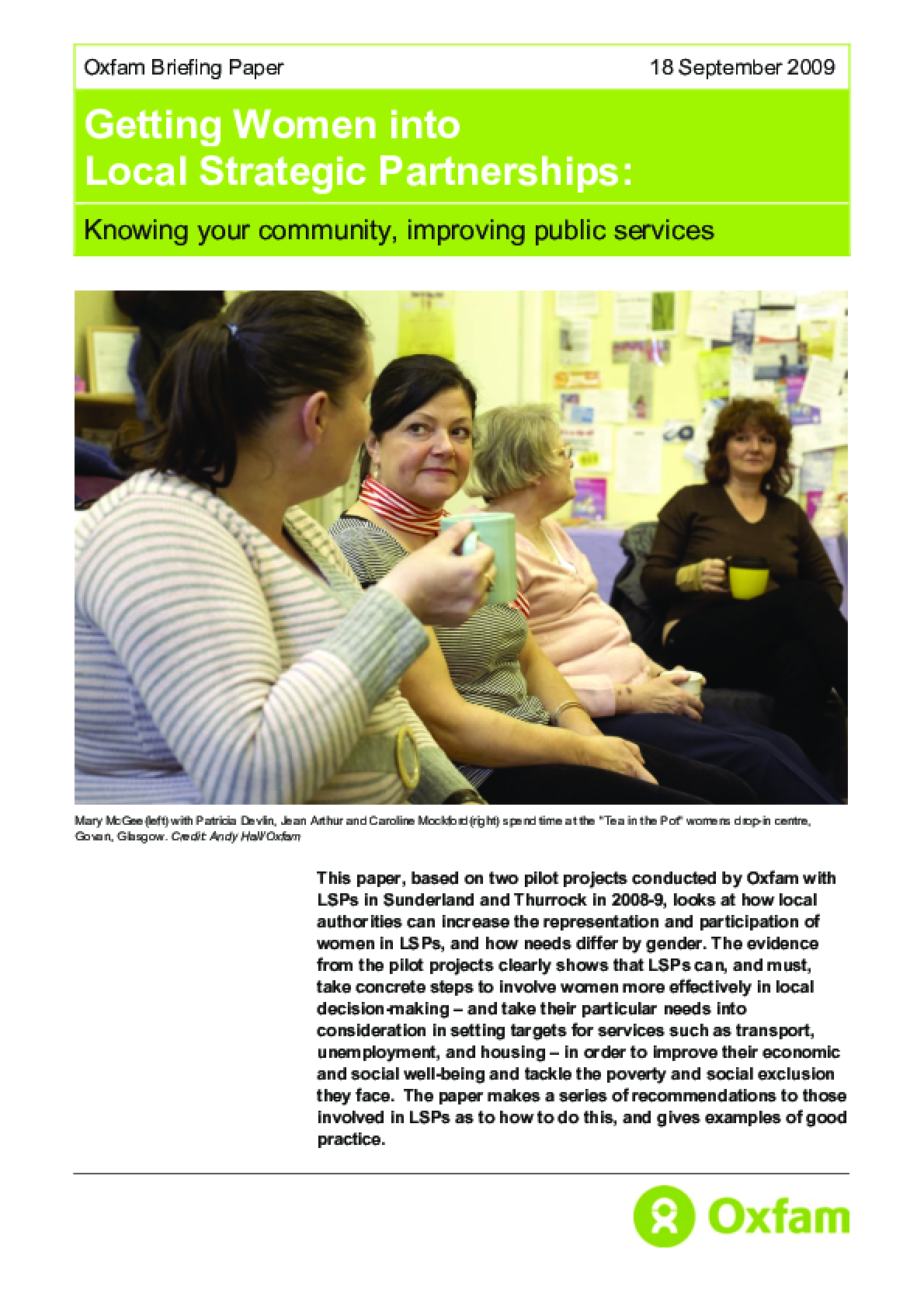 Getting Women into Local Strategic Partnerships: Knowing your community, improving public services