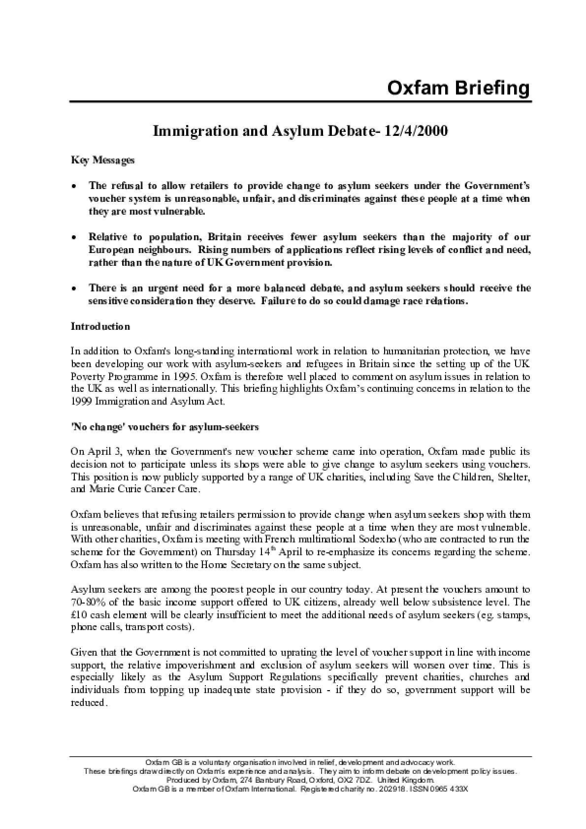 Immigration and Asylum Debate 12/4/2000