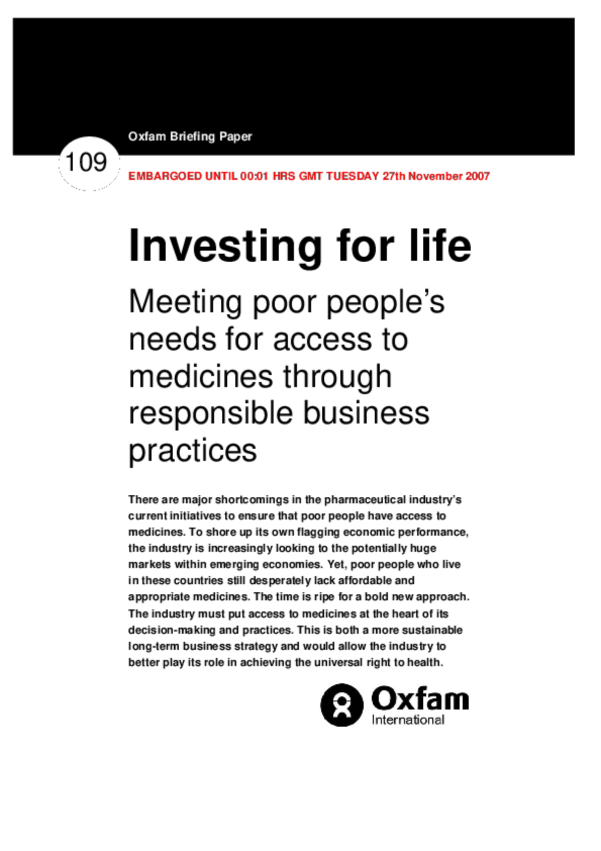 Investing For Life: Meeting poor people's needs for access to medicines through responsible business practices