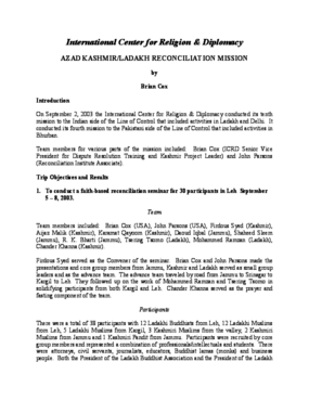 Azad Kashmir/Ladakh Reconciliation Mission