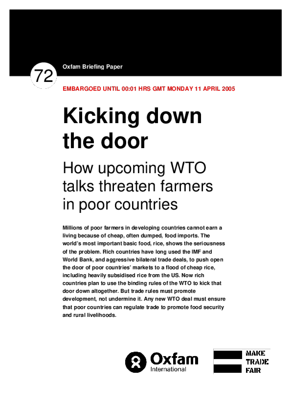 Kicking Down the Door: How upcoming WTO talks threaten farmers in poor countries
