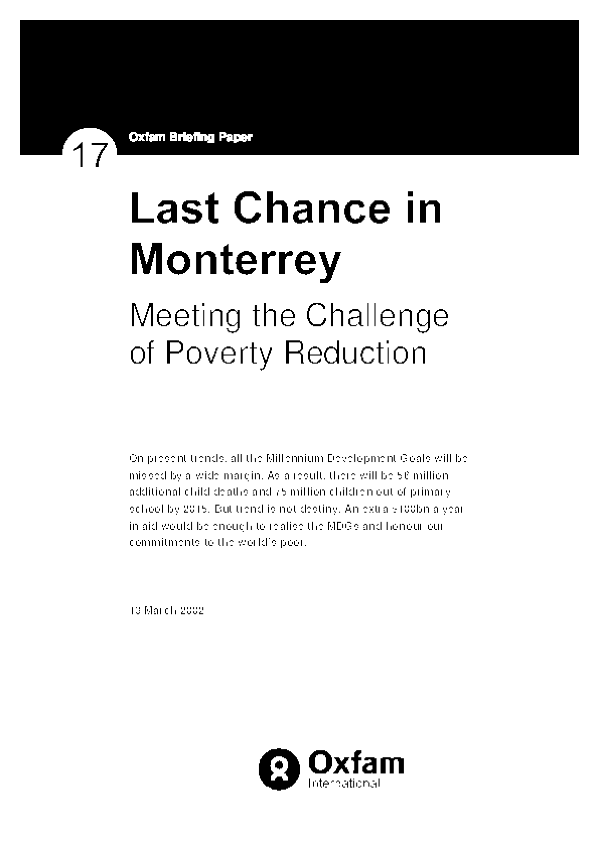Last Chance in Monterrey: Meeting the challenge of Poverty Reduction