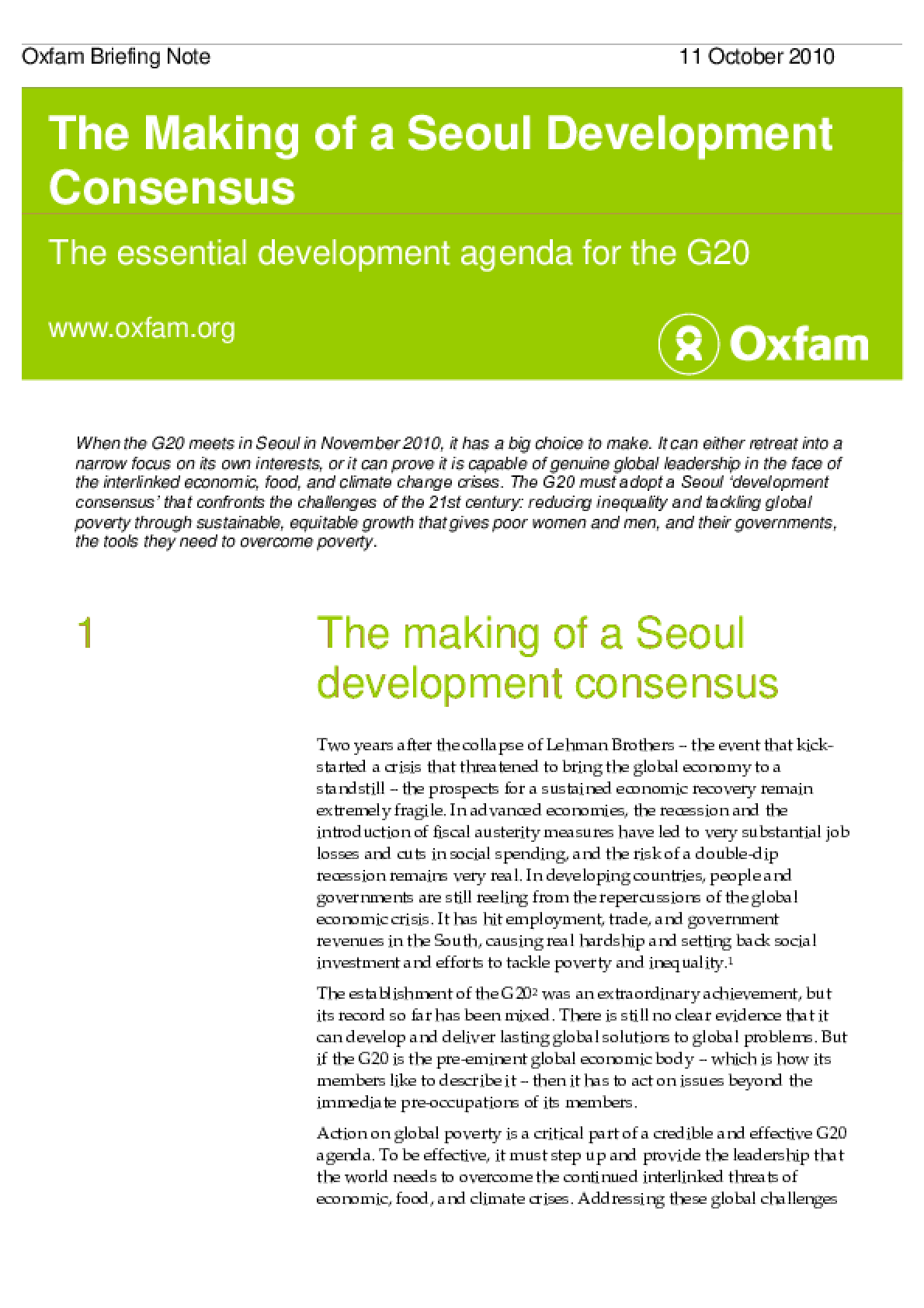 The Making of a Seoul Development Consensus: The essential development agenda for the G20