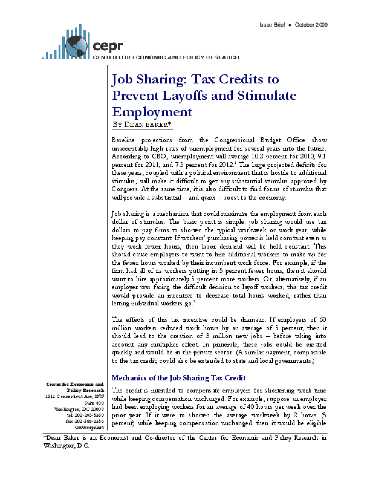 Job Sharing: Tax Credits to Prevent Layoffs and Stimulate Employment