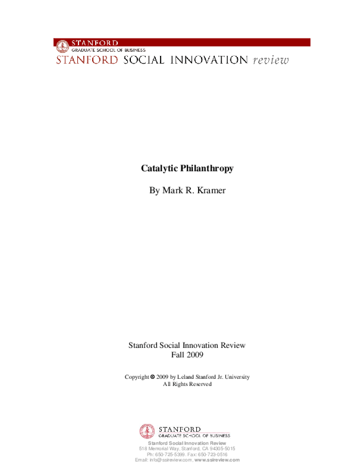 Catalytic Philanthropy