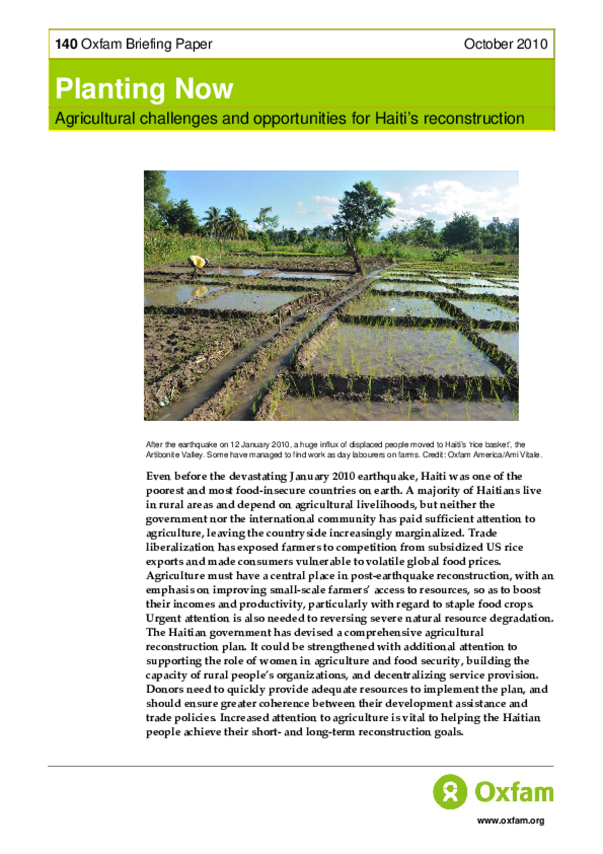 Planting Now: Agricultural challenges and opportunities for Haiti's reconstruction