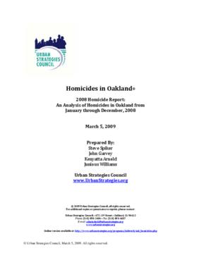 City of Oakland 2008 Homicide Report