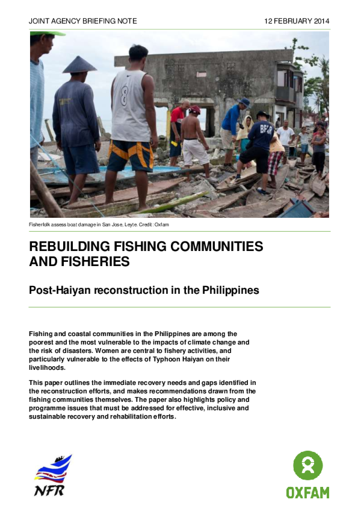 Rebuilding Fishing Communities and Fisheries: Post-Haiyan Reconstruction in the Philippines