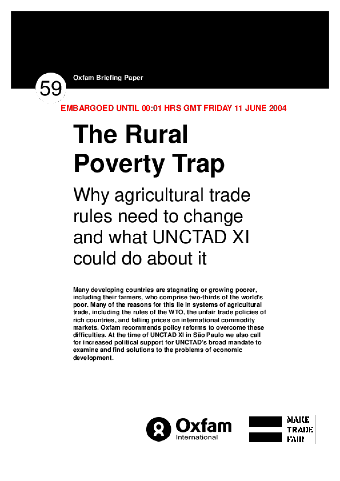 The Rural Poverty Trap: Why agricultural trade rules need to change and what UNCTAD XI could do about it