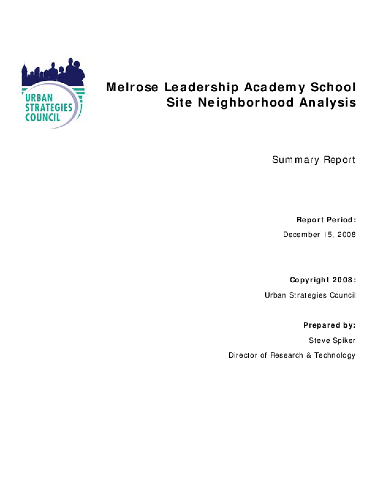 Melrose School Site Planning: A Neighborhood Analysis for OUSD