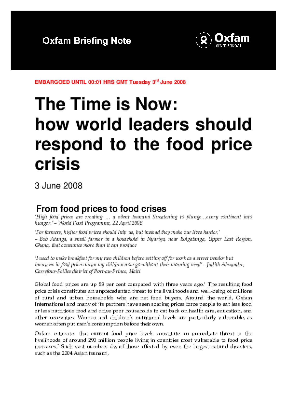 The Time is Now: How world leaders should respond to the food price crisis