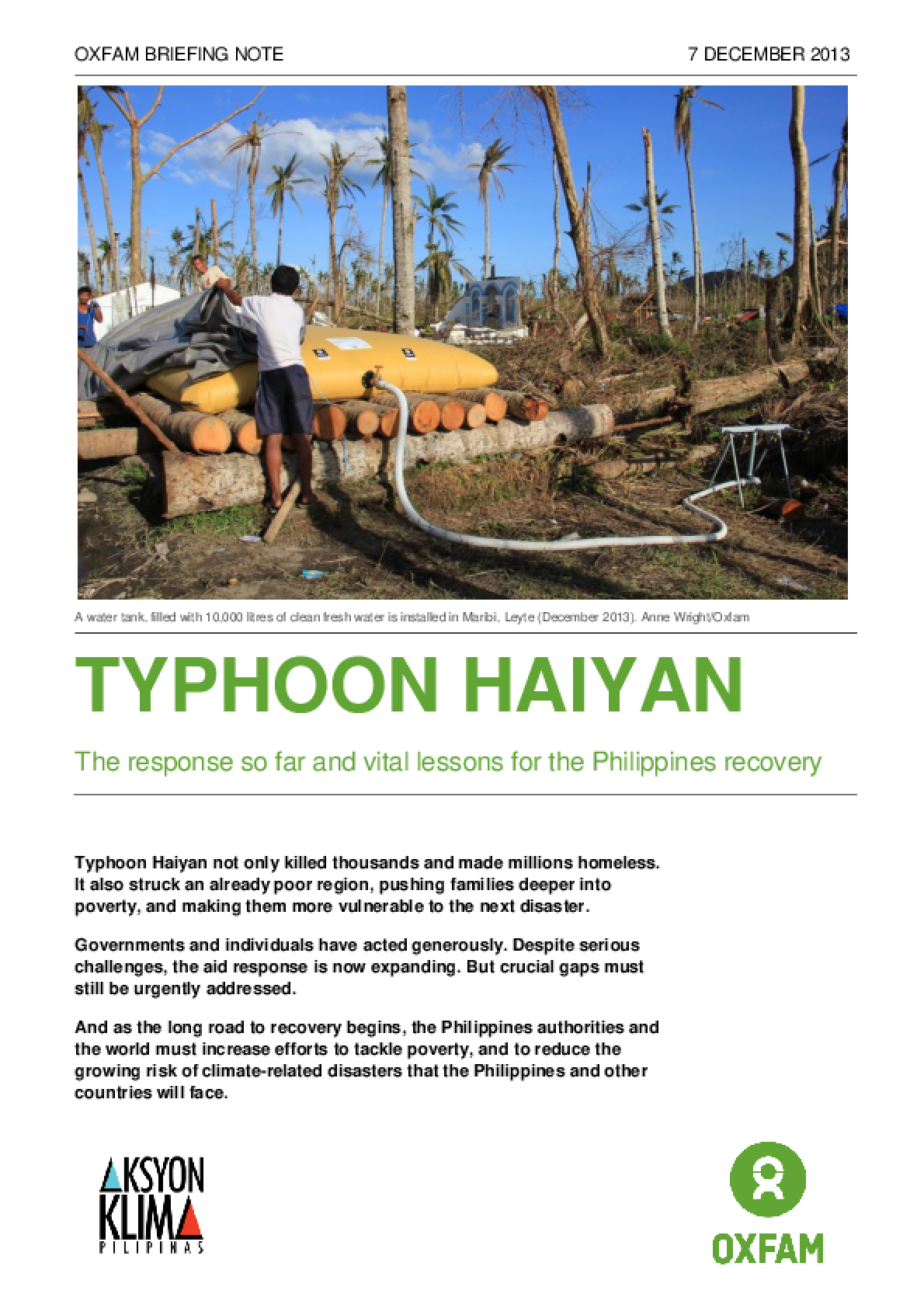 Typhoon Haiyan: The response so far and vital lessons for the Philippines recovery