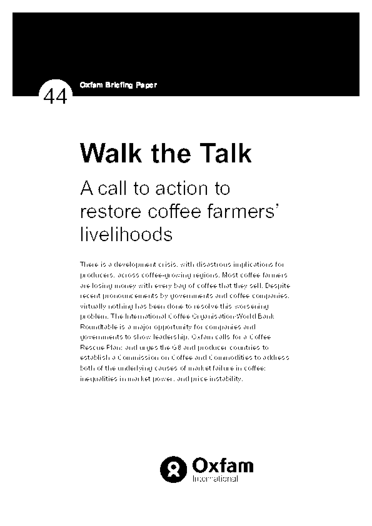 Walk the Talk: A call to action to restore coffee farmers' livelihoods