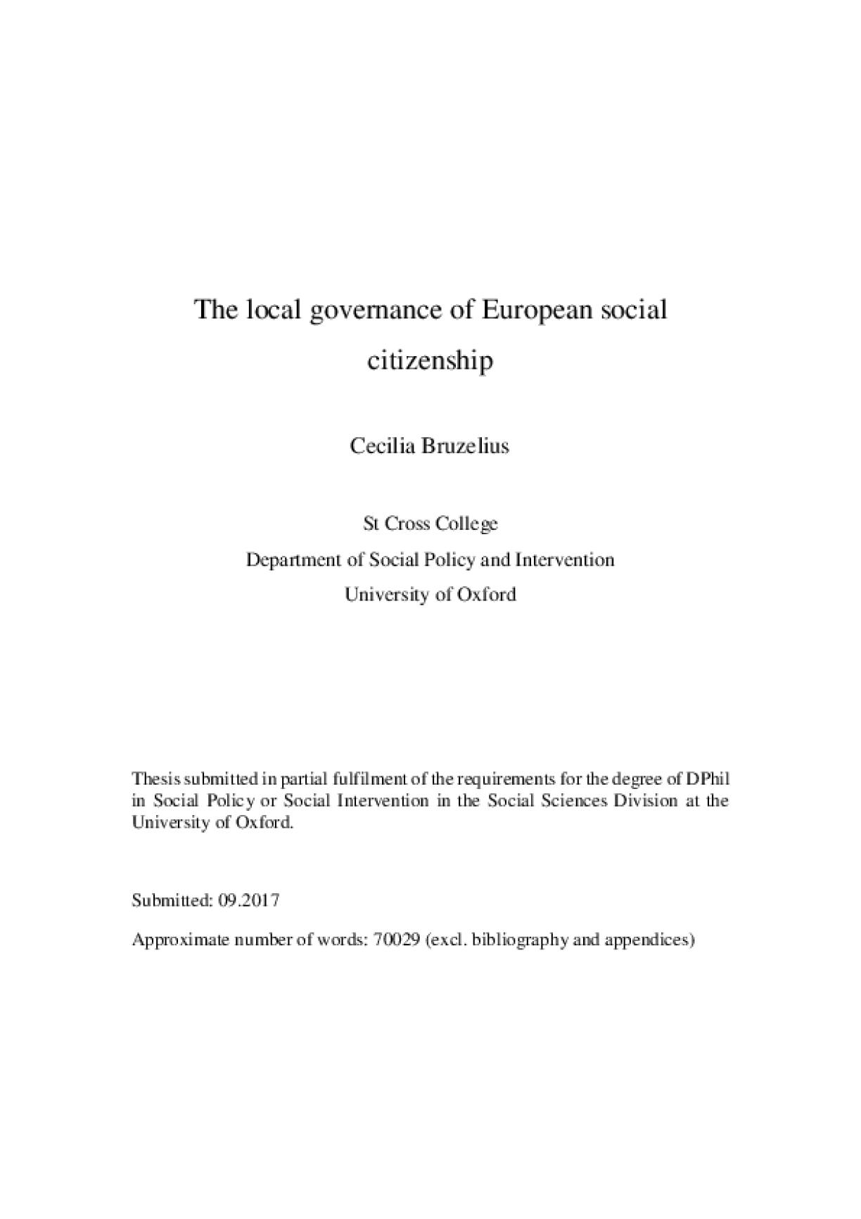The Local Governance of European Social Citizenship