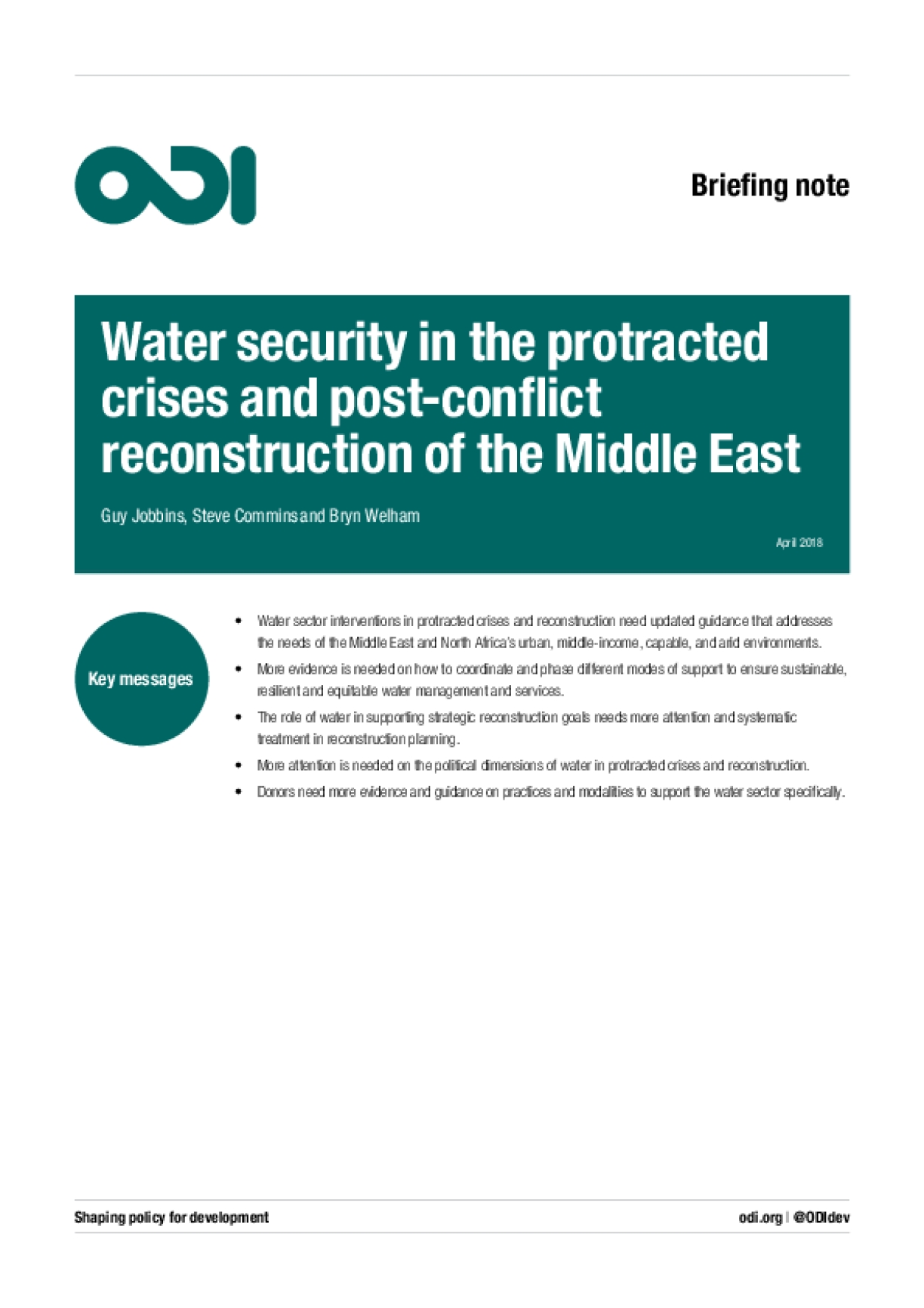 Water Security in the Protracted Crises and Post-Conflict Reconstruction of the Middle East