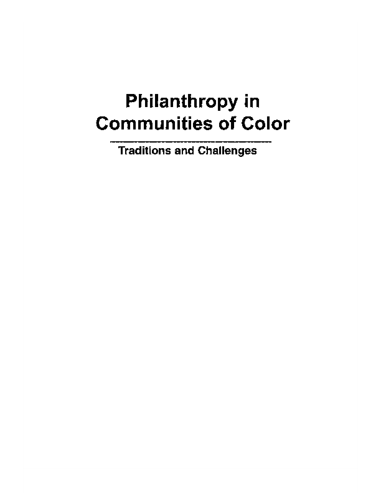 Philanthropy in Communities of Color - Traditions and Challenges