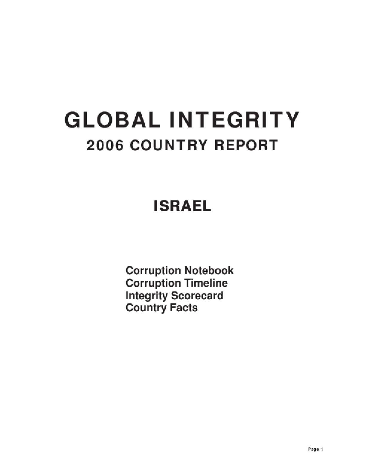 Global Integrity Report: Israel