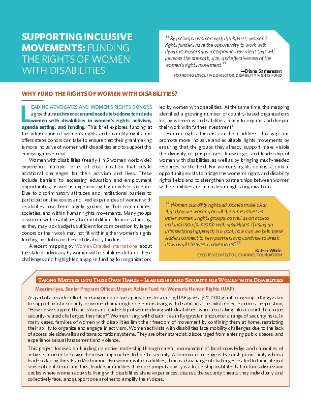 Supporting Inclusive Movements: Funding the Rights of Women with Disabilities