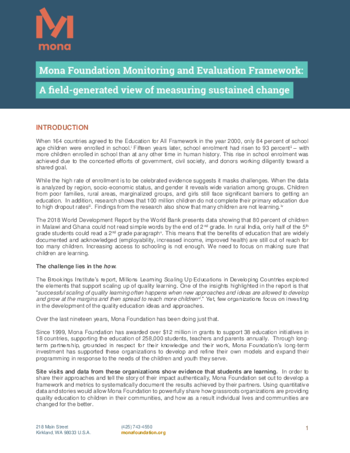 Mona Foundation Monitoring Evaluation Framework: A Field-generated View of Measuring Sustained Change