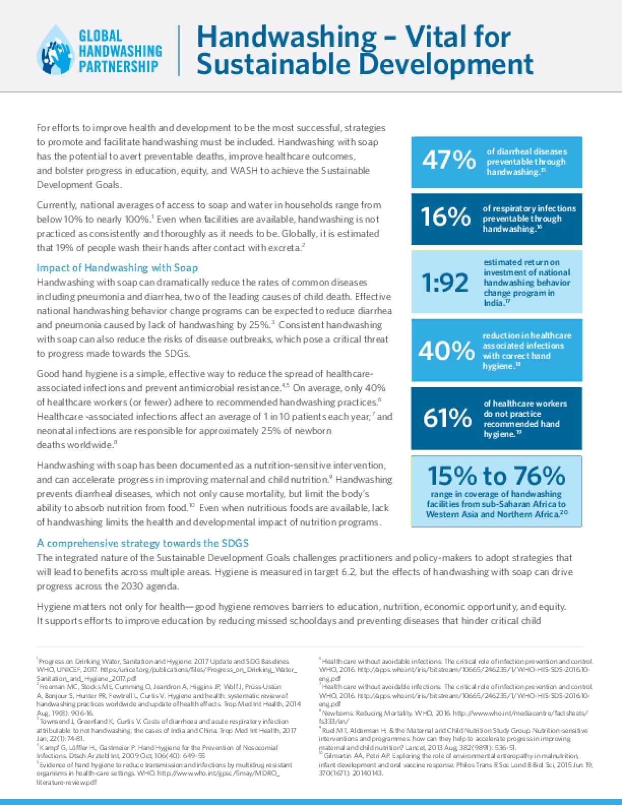 Handwashing – Vital for Sustainable Development advocacy brief