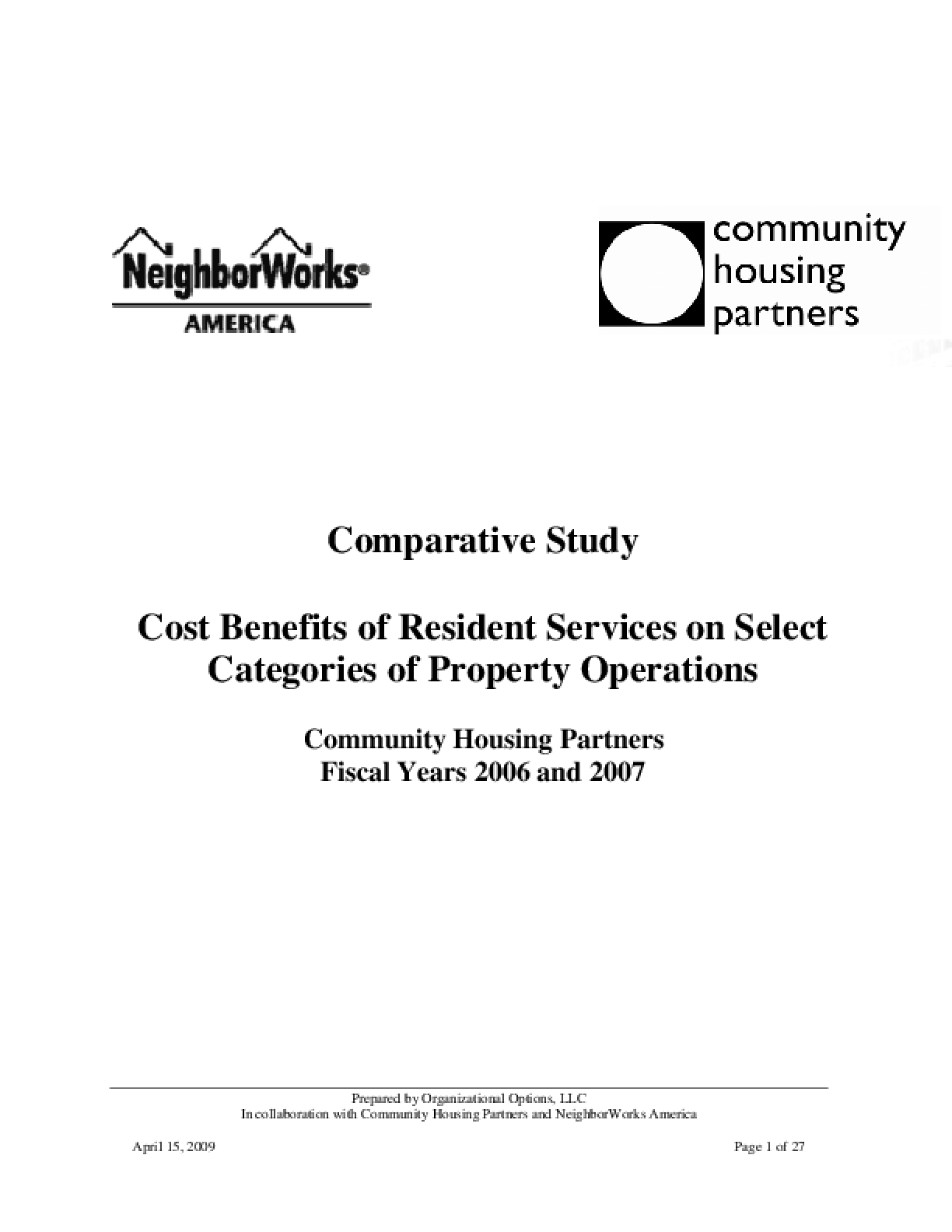Cost Benefits of Resident Services on Select Categories of Property Operations: A Comparative Study