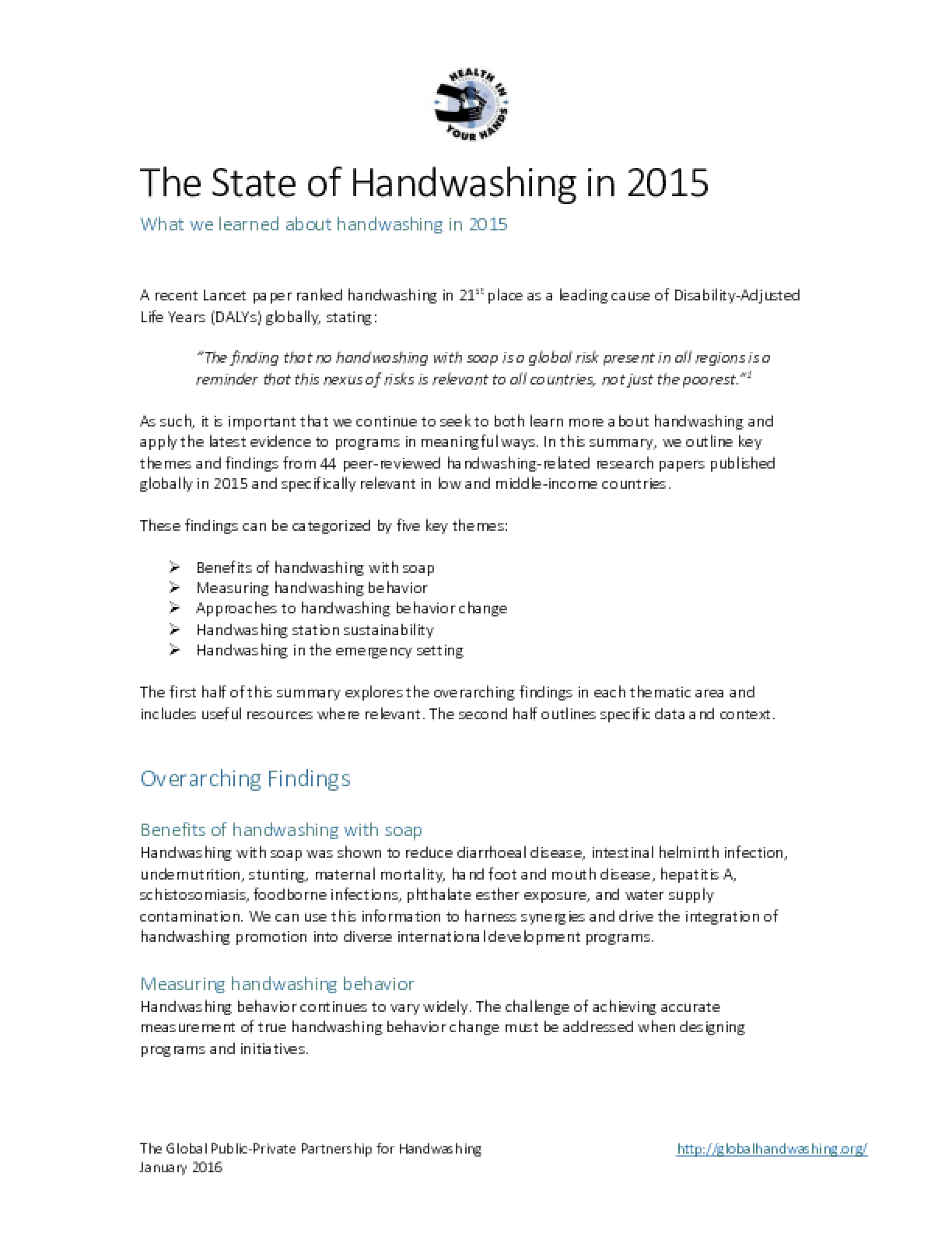 The State of Handwashing in 2015: An Annual Research Summary