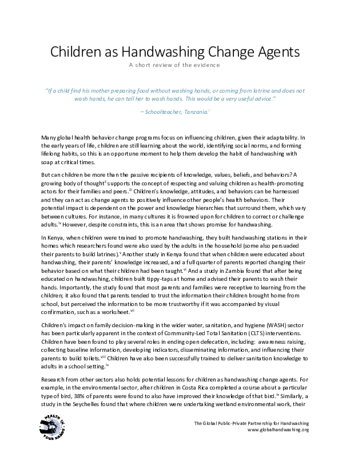 Children as Handwashing Change Agents: A short review of the evidence