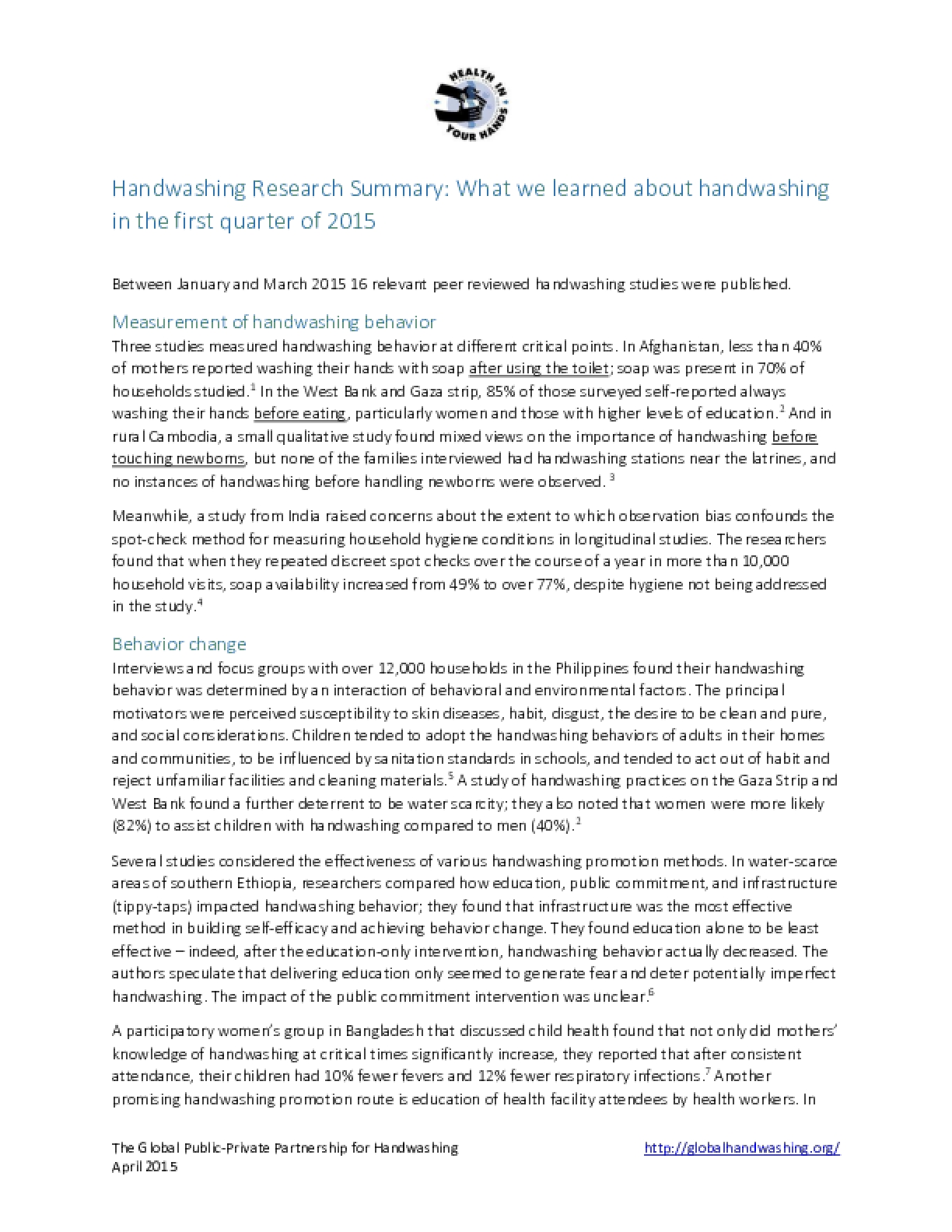 Handwashing Research Summary – Quarter 1, 2015