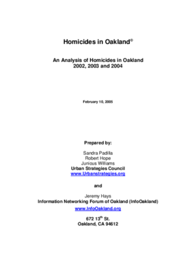 An Analysis of Homicides in Oakland 2002, 2003 and 2004